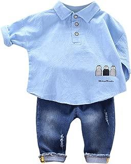 feiXIANG Infant Baby M/ädchen Kleidung Set Neugeborene M/ädchen Langarm Gestreiftes T-Shirt Tops Straps Jumpsuit Denim Hosen Kinder Casual Outfit Set 0-24 Monate