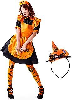[HairRoom] ハロウィン メイド服 コスプレ メイド コスチューム 衣装 仮装 5点セット