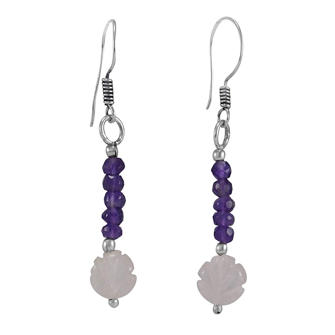 Handmade Jewelry Manufacturer 925 Silver Plated, Round Amethyst Beads, Hand-carved Rose Quartz Simple Earring Jaipur Rajasthan India