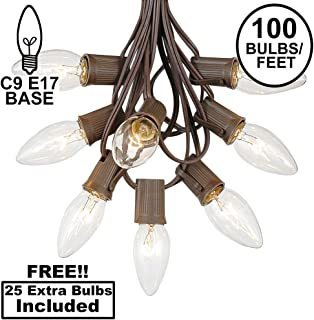 C9 Clear Christmas String Light Set - Outdoor Christmas Light String - Christmas Tree Lights - Hanging Christmas Lights - Roofline Light String - Outdoor Patio String Lights - Brown Wire - 100 Foot