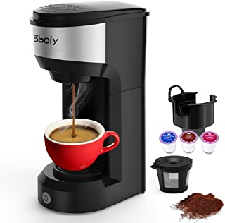Upgrade Mini Single Serve Coffee Maker for K Cup Pods and Ground Coffee by Sboly, 90s Quick Brewing Technology, K Cup Brewer Small Coffee Machine for Travel, Black