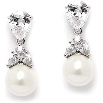 Mariell Clip-On or Pierced Pear Shaped Cubic Zirconia and Simulated Pearl Drop Bridal Wedding Earrings