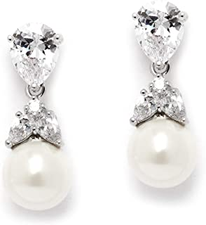 Clip-On or Pierced Pear Shaped Cubic Zirconia and Simulated Pearl Drop Bridal Wedding Earrings