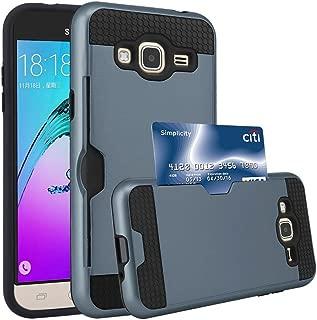 J3 Case, Express Prime Case, Amp Prime Case, Jwest [Card Slot] Shock Absorbent Armor Hybrid Defender Shockproof Protective Wallet Cover Case For Samsung Galaxy J3 Express Prime Amp Prime (Navy Blue)