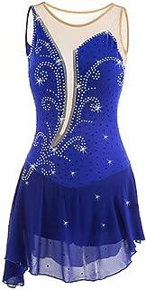 フィギュアスケートドレス女性のアイススケートドレスアクアマリン非対称裾高弾性トレーニング,5~6yearsold(130cm)