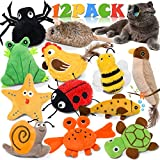Catnip Toys for Indoor Cats, 12 Pack Crinkle Interactive Cat Toy, Cat Chew Toy for Aggressive Chewers Bite Resistant, Squeaky Catnip Cat Toys Rattle Plush Stuffed Pet Toys, Relieve Stress Kitten Toys