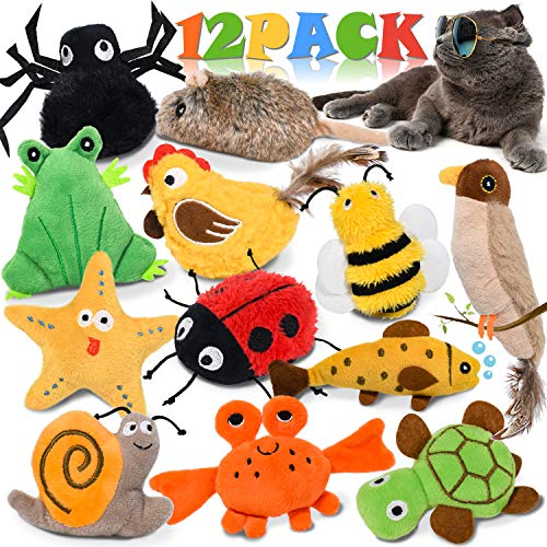 Catnip Cat Toys for Indoor Cats, 12 Pack Interactive Cat Toy with Crinkle, Squeaky, Rattle Sound, Kitten Stuffed Animal Cat Toy Set Assorted Plush Pet Toys, Cat Chew Toy for Chewing, Hunting, Teething
