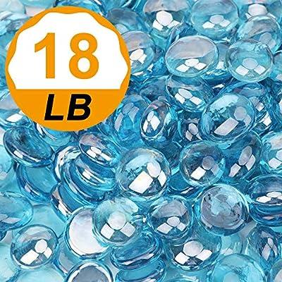 [18 Pound] Fire Glass Beads Fireglass Drops for Gas Fire Pit Fireplace Azure Blue Luster Reflective Decorative Glass Gems Rocks Pebbles Stone for Vase Fillers Fish Tank Aquarium Decoration (Azure)