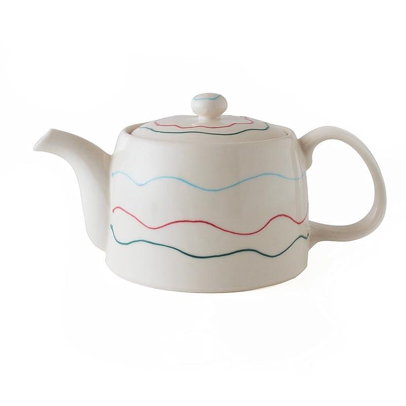 スカウト愛国的な服を洗う波佐見焼 CtoC JAPAN スマート 茶こし付き ポット ウェーブ W18.3×D10.7×H9(cm) 430(cc)