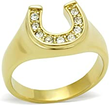 Anka Brilliant Horseshoe Ring Accented with Top Graded Crystals 5 6 7 8 9 10 GL003