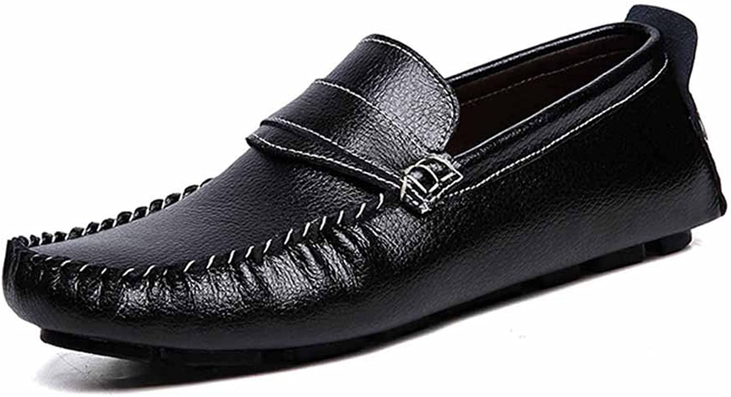 GLSHI Men Casual Driving shoes Comfort Loafer Low Top Breathable Flats shoes Black