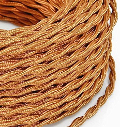 10 Mt Cavo elettrico Treccia Trecciato stile vintage rivestito in tessuto colorato Rame Whiskey sezione 3x0,75 per lampadari, lampade, abat jour, design. Made in Italy
