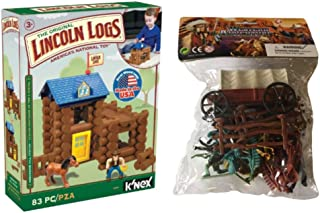 Lincoln Log Classic Kids Horseshoe Hill Station – Knex Building Set - 83 Pieces, with Western Minifigures Bundle