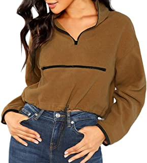 Sweatshirts Women's Plush Pullover Short Hoodies Winter Long Sleeve Pullover with Zipper Warm Tops Cropped Blouse