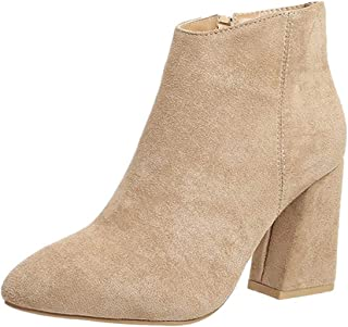 Gleamfut Women Suede High Heel Boot Fashion Solid Color Pointed Toe Zipper Roman Boot Short Boot