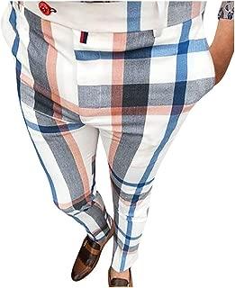 Allywit Mens Hip Hop Premium Slim Fit Track Pants - Athletic Jogger Patchwork Plaid Sweatpants Tapered Ankle Length Pants