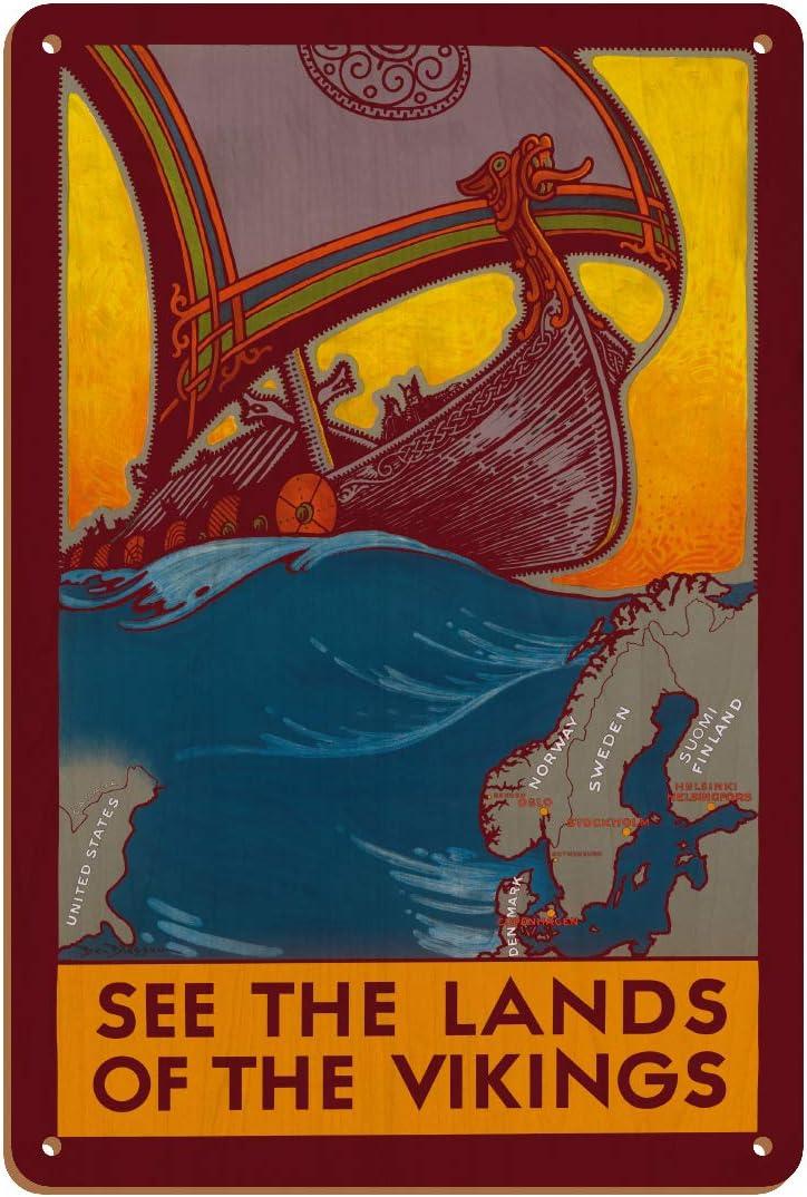 Scandinavia Drakkar Viking Ship Vintage Airline Travel Art Poster Print