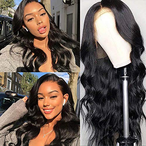"""QTHAIR 14A Lace Front Wigs Human Hair Body Wave Middle T Part Wig Brazilian Virgin Human Hair Wigs Per Plucked with Baby Hair For Black Women Natural Color(24"""")"""