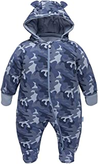 JiAmy Bebé Traje de Nieve Ropa de Invierno Mameluco con Capucha Camuflaje Pelele Trajes de Algodón Azul 6-9 Meses