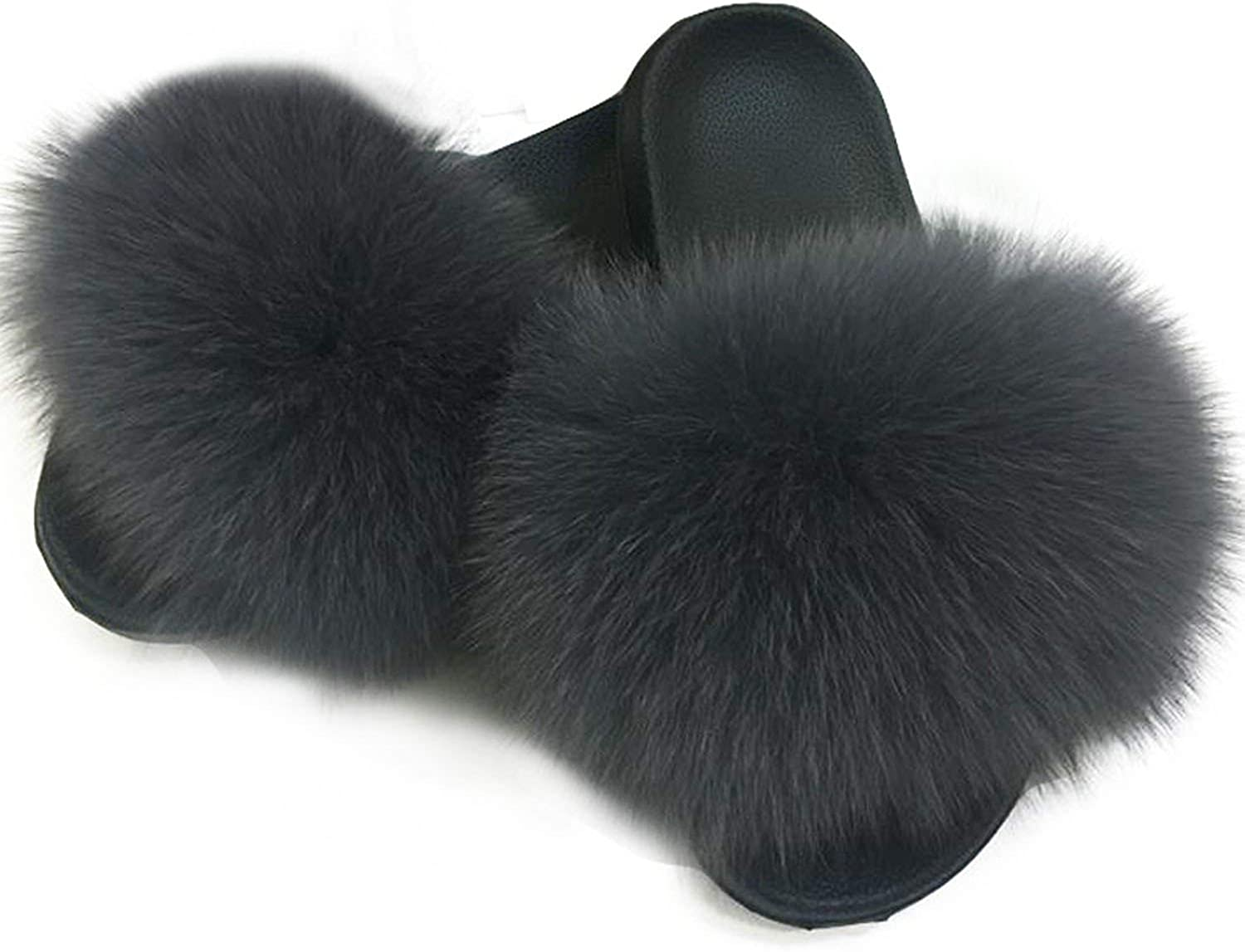 High end Women Fox Fur Slippers Slides Female Furry Indoor Flip Flops Casual Beach Plush shoes
