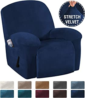 H.VERSAILTEX Recliner Sofa Cover 1-Piece Non Slip Soft High Stretch Modern Thick Velvet Plush Slipcover Form Fit Stretch Furniture Cover Recliner Sofa Slipcover Machine Washable - Navy
