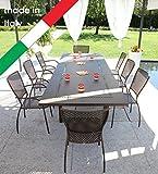 RD ITALIA Juego Mesa Helios XL Maxi Extensible y 6sillas Queen Metal de jardn terraza...