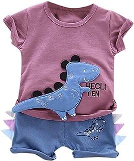 8f1355d180abd3 Jimmackey Tute di Dinosauro Bambino, Completo Neonato 2 Pezzi Set Estate  Primavera Maglietta Manica Corte