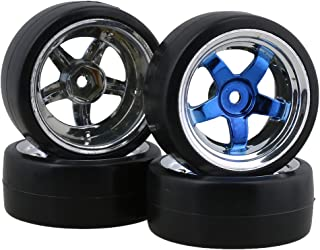 BQLZR 12MM RC 1:10 Blue 5 Spoke Plating Wheel Rims and Drift Smooth Tyres for On Road Racing Car Pack of 4