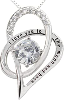 I Love You to The Moon and Back Heart Pendant Necklace Jewelry 925 Sterling Silver & Cubic Zirconia