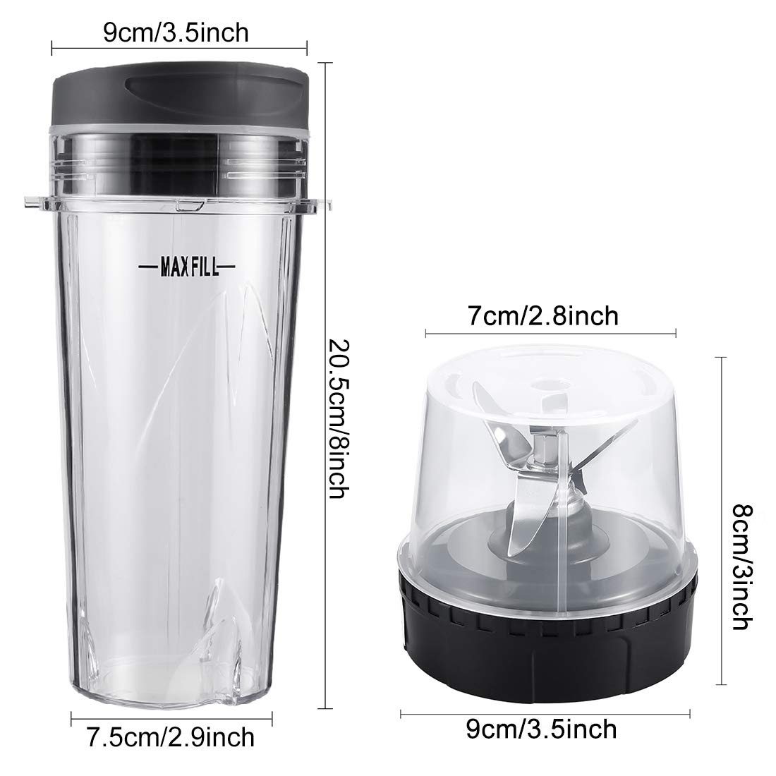 Blender Blade Assembly and 2 Pack Single Serve 16-Ounce Cup Set for BL770 BL780 BL660 Professional Blender TOOLACC Replacement Parts for Nutri Ninja