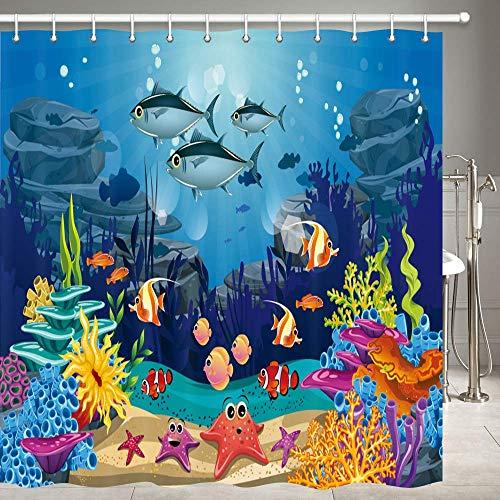 JOOCAR Design Duschvorhang, blauer Ozean, tropische Fische, Koralle, Unterwasserwelt, Unterwasser-Meerestier mit Seestern, wasserdichter Stoffstoff, Badezimmer-Dekor-Set mit Haken