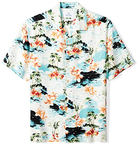 28 Palms Men's Relaxed-Fit 100% Silk Tropical Hawaiian Shirt, White Tropical Scenic, X-Large