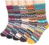 5 Pairs Womens Cold Weather Soft Warm Thick Knit Crew Casual Winter Wool Socks,Multicolor 01,One...