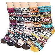 Loritta 5 Pairs Womens Vintage Style Winter Soft Warm Thick Knit Wool Crew Socks