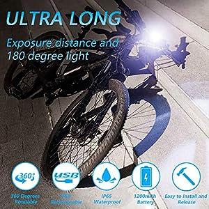 WOSTOO LED Luz Bicicleta, Luces Bicicleta Delantera y Trasera Impermeable USB Recargable LED Bicicletas Luces con 5 Modes, Faro Delantero y luz Trasera para Bicicletas para Carretera y Montaña