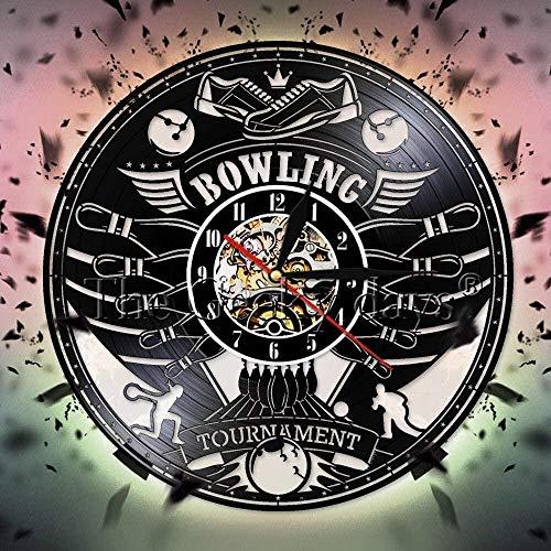 hxjie 12 Zoll personalisierte LED Bowlingkugel Silent Quartz Wanduhr Bowling Club Wanddekoration Kunst Bowling Sport Vinyl Schallplatte Wanduhr Bowling Geschenke