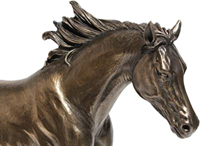 13.63 Inch Horse Cantering on The Grassland Cold Cast Bronze Figurine
