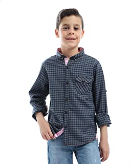Andora Roll-Up Buttoned Sleeves Chest Pocket Plaid Cotton Shirt for Boys