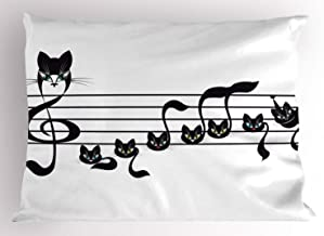 Ambesonne Music Decor Pillow Sham, Notes Kittens Kitty Cat Artwork Notation Tune Children Halloween Stylized, Decorative Standard Size Printed Pillowcase, 26 X 20 inches, Black White