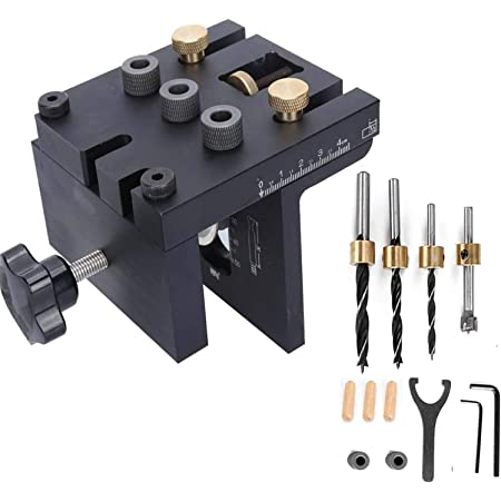 Drilling Jig Kit 1//2 3//8 In Dowel Hole Guide Woodwork Tool Punching Locator Set