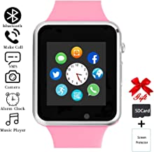 aimion Smart Watch,Touchscreen Smart Wrist Watch Call Text Camera Music Player Notification Sync SIM/SD Card Slot Smartwatch Compatible with Bluetooth/Android/iOS Women Men Kids(Romantic Pink)