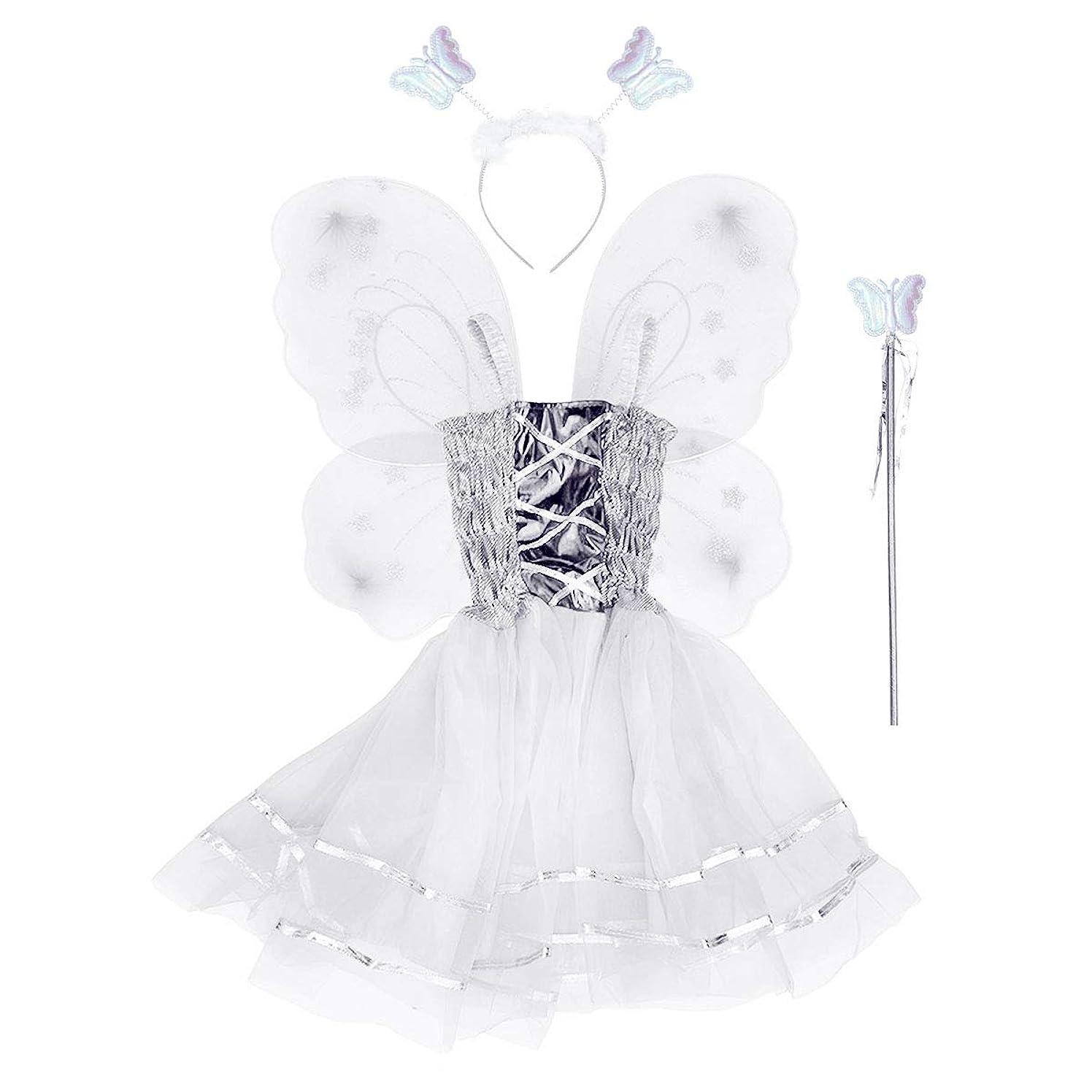 南東追放するモスクBESTOYARD 4本の女の子バタフライプリンセス妖精のコスチュームセット蝶の羽、ワンド、ヘッドバンドとツツードレス(ホワイト)