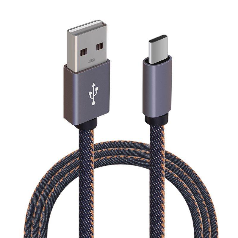 Yekoda Huawei Mate9データケーブルMate9充電ラインType-Cデータケーブル両面充電式クリエイティブデニム充電ケーブル強力で耐久性のあるトレンドデジタルアクセサリー(1メートル、デニム配線)