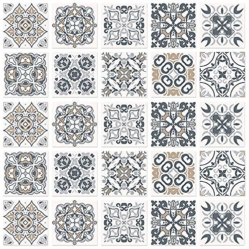 36 azulejos adhesivos de pared de 10 x 10 cm, pegatinas autoadhesivas para pared con motivos de baldosas de cemento, para cuarto de baño y cocina