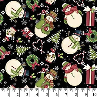 Christmas Merry Snowman Cotton Fabric by The Yard