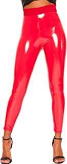 WearAll Women's Wet Look Shiny Pu Jeggings Trousers High Waisted Leggings - Red - US 4-6 (UK 8-10)