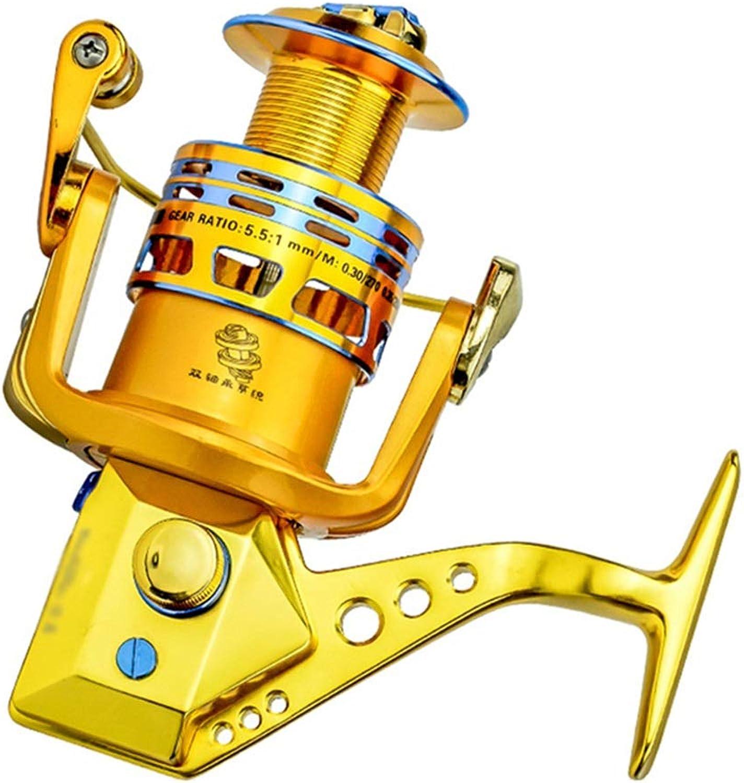 LLJPYX7L Leistungsstarke Angelrolle im Spinning-Stil in Gold, 18-lagig, rostfrei, Ganzmetall-Kipphebel, übersetzungsverhltnis 5,5  1, Hochleistungs-Angelrolle (Farbe   6000)