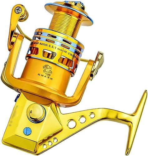 Potente carrete de pesca de estilo giratorio dorado, con 18 rodamientos, Diseño a prueba de óxido, balancín completamente metálico, relación de transmisión de 5,5  1, carrete de pesca de alta potencia