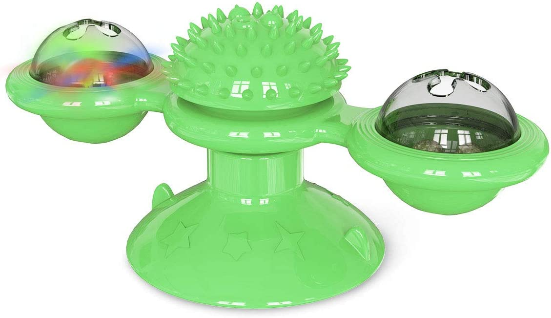 Heywean Cat Windmill Toy Multi-Functional with Massager Funny Pet Interactive Spin Toys for Cats Green 2