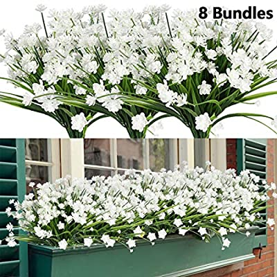 HAPLIA 8 Bundles Artificial Flowers, Fake Artificial Greenery UV Resistant No Fade Faux Plastic Plants for Wedding Bridle Bouquet Indoor Outdoor Home Garden Kitchen Office Table Vase (White)